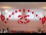 украшение зала в красно-белом стиле